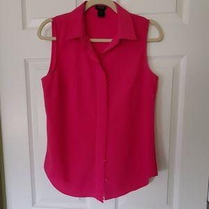 Ann Taylor sleeveless pink button down top